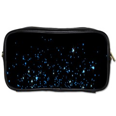 Blue Glowing Star Particle Random Motion Graphic Space Black Toiletries Bags 2 Side by Mariart