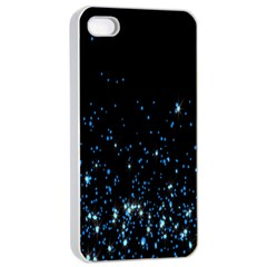 Blue Glowing Star Particle Random Motion Graphic Space Black Apple Iphone 4/4s Seamless Case (white) by Mariart