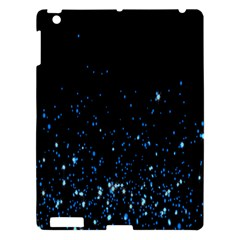 Blue Glowing Star Particle Random Motion Graphic Space Black Apple Ipad 3/4 Hardshell Case by Mariart