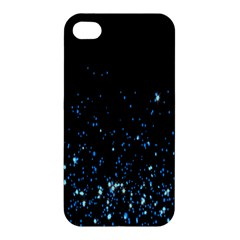 Blue Glowing Star Particle Random Motion Graphic Space Black Apple Iphone 4/4s Premium Hardshell Case by Mariart