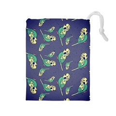 Canaries Budgie Pattern Bird Animals Cute Drawstring Pouches (large)  by Mariart