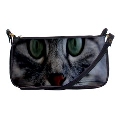 Cat Face Eyes Gray Fluffy Cute Animals Shoulder Clutch Bags by Mariart