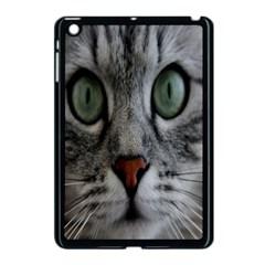 Cat Face Eyes Gray Fluffy Cute Animals Apple Ipad Mini Case (black) by Mariart