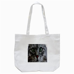 Cat Face Eyes Gray Fluffy Cute Animals Tote Bag (white) by Mariart