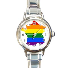 Flag Map Stripes Line Colorful Round Italian Charm Watch by Mariart