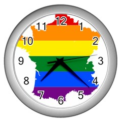 Flag Map Stripes Line Colorful Wall Clocks (silver)  by Mariart