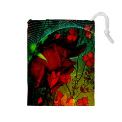 Flower Power, Wonderful Flowers, Vintage Design Drawstring Pouches (large)  by FantasyWorld7
