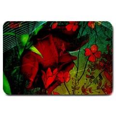 Flower Power, Wonderful Flowers, Vintage Design Large Doormat  by FantasyWorld7