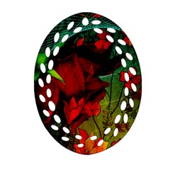Flower Power, Wonderful Flowers, Vintage Design Oval Filigree Ornament (two Sides) by FantasyWorld7