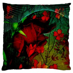 Flower Power, Wonderful Flowers, Vintage Design Large Flano Cushion Case (one Side) by FantasyWorld7