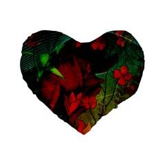 Flower Power, Wonderful Flowers, Vintage Design Standard 16  Premium Flano Heart Shape Cushions by FantasyWorld7