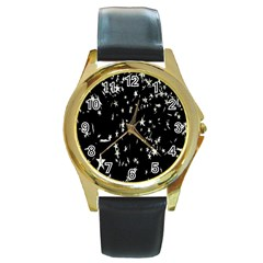 Falling Spinning Silver Stars Space White Black Round Gold Metal Watch by Mariart