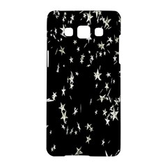 Falling Spinning Silver Stars Space White Black Samsung Galaxy A5 Hardshell Case  by Mariart