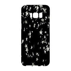 Falling Spinning Silver Stars Space White Black Samsung Galaxy S8 Hardshell Case  by Mariart