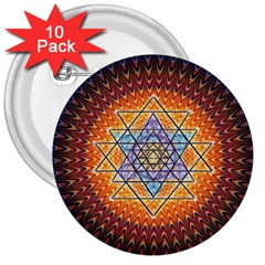Cosmik Triangle Space Rainbow Light Blue Gold Orange 3  Buttons (10 Pack)  by Mariart