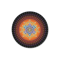 Cosmik Triangle Space Rainbow Light Blue Gold Orange Magnet 3  (round) by Mariart