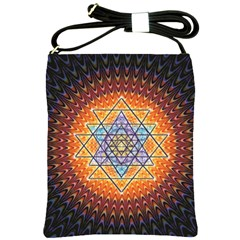 Cosmik Triangle Space Rainbow Light Blue Gold Orange Shoulder Sling Bags by Mariart