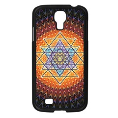 Cosmik Triangle Space Rainbow Light Blue Gold Orange Samsung Galaxy S4 I9500/ I9505 Case (black) by Mariart