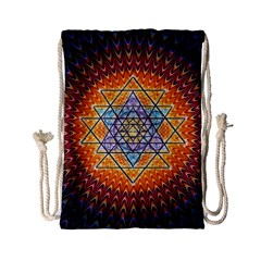 Cosmik Triangle Space Rainbow Light Blue Gold Orange Drawstring Bag (small) by Mariart