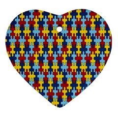 Fuzzle Red Blue Yellow Colorful Ornament (heart) by Mariart