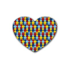 Fuzzle Red Blue Yellow Colorful Heart Coaster (4 Pack)  by Mariart