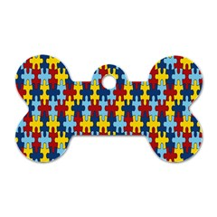 Fuzzle Red Blue Yellow Colorful Dog Tag Bone (one Side) by Mariart