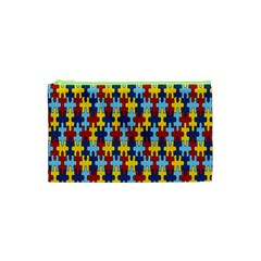 Fuzzle Red Blue Yellow Colorful Cosmetic Bag (xs) by Mariart