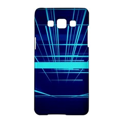 Grid Structure Blue Line Samsung Galaxy A5 Hardshell Case  by Mariart