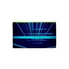 Grid Structure Blue Line Cosmetic Bag (xs) by Mariart