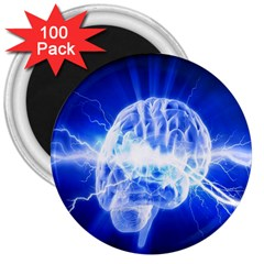 Lightning Brain Blue 3  Magnets (100 Pack) by Mariart