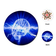 Lightning Brain Blue Playing Cards (round)  by Mariart