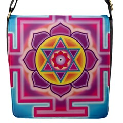 Kali Yantra Inverted Rainbow Flap Messenger Bag (s) by Mariart