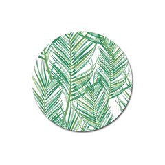 Jungle Fever Green Leaves Magnet 3  (round) by Mariart