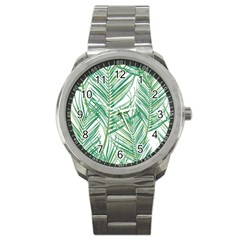Jungle Fever Green Leaves Sport Metal Watch by Mariart