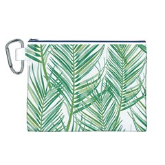 Jungle Fever Green Leaves Canvas Cosmetic Bag (l) by Mariart