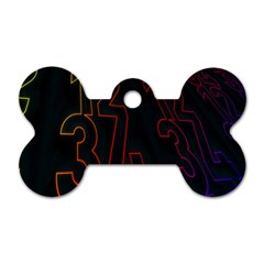 Neon Number Dog Tag Bone (two Sides) by Mariart