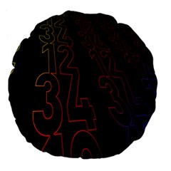 Neon Number Large 18  Premium Flano Round Cushions by Mariart