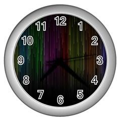 Line Rain Rainbow Light Stripes Lines Flow Wall Clocks (silver)  by Mariart