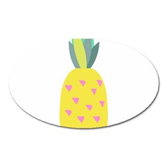 Pineapple Fruite Yellow Triangle Pink Oval Magnet by Mariart