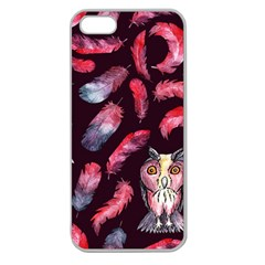 Boho Owl And Feather Pattern Apple Seamless Iphone 5 Case (clear) by paulaoliveiradesign
