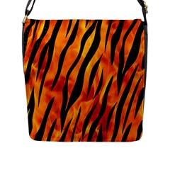 Skin3 Black Marble & Fire (r) Flap Messenger Bag (l)  by trendistuff