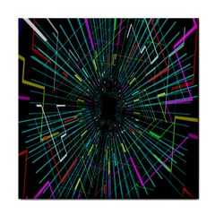 Colorful Geometric Electrical Line Block Grid Zooming Movement Tile Coasters by Mariart