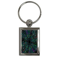 Colorful Geometric Electrical Line Block Grid Zooming Movement Key Chains (rectangle)  by Mariart