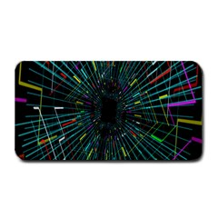 Colorful Geometric Electrical Line Block Grid Zooming Movement Medium Bar Mats by Mariart