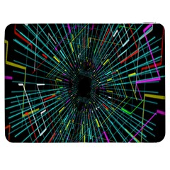 Colorful Geometric Electrical Line Block Grid Zooming Movement Samsung Galaxy Tab 7  P1000 Flip Case by Mariart