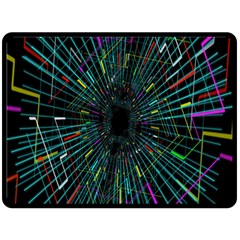 Colorful Geometric Electrical Line Block Grid Zooming Movement Double Sided Fleece Blanket (large)  by Mariart