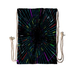 Colorful Geometric Electrical Line Block Grid Zooming Movement Drawstring Bag (small) by Mariart