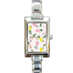 Pineapple Rainbow Fruite Pink Yellow Green Polka Dots Rectangle Italian Charm Watch by Mariart