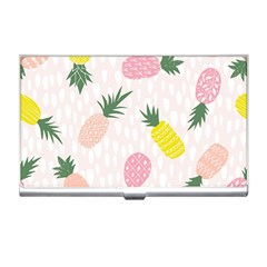Pineapple Rainbow Fruite Pink Yellow Green Polka Dots Business Card Holders by Mariart