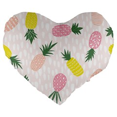 Pineapple Rainbow Fruite Pink Yellow Green Polka Dots Large 19  Premium Heart Shape Cushions by Mariart